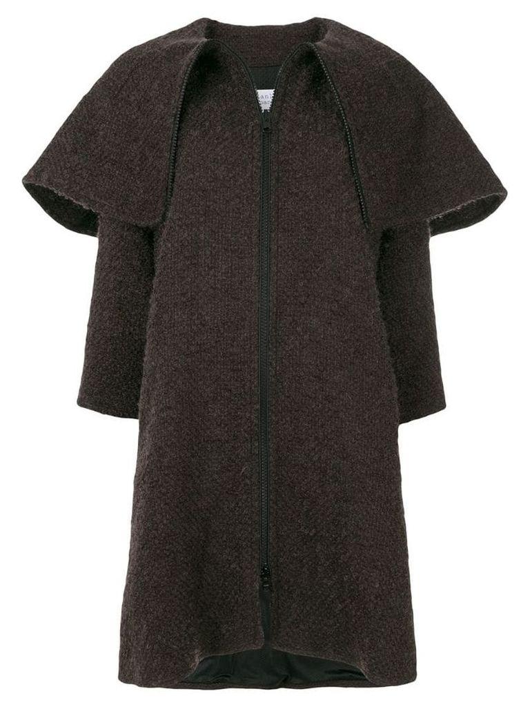 Gianluca Capannolo oversized collar woven coat - Brown