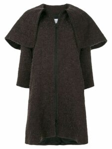 Gianluca Capannolo oversized collar woven coat - Brown