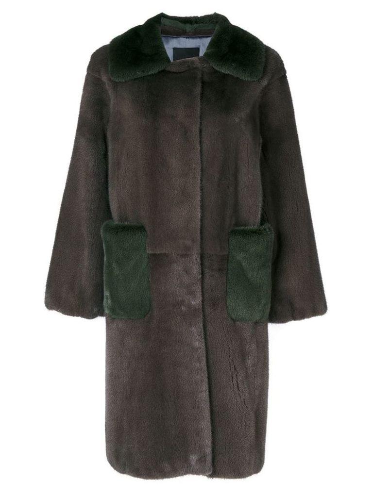 Liska oversized two-tone coat - Grey