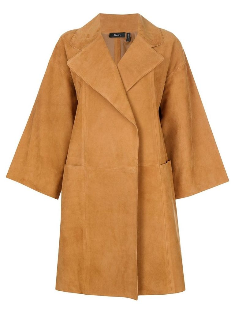 Theory oversized cropped sleeve coat - Brown