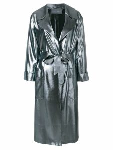Alberta Ferretti metallic oversized coat - Grey