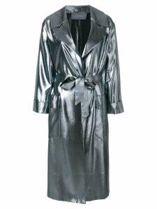 Alberta Ferretti metallic oversized coat - Grey
