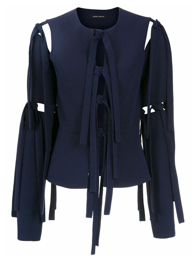 Gloria Coelho cut out details coat - Blue