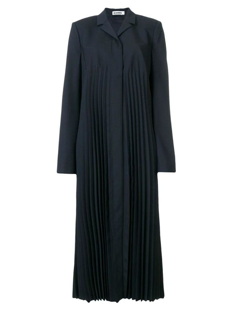 Jil Sander pleated duster coat - Blue
