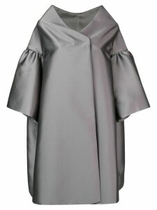 Alberta Ferretti ruffle sleeve oversized coat - Grey