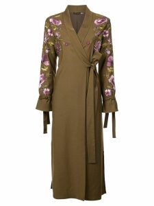 Josie Natori embroidered tie front duster coat - Green