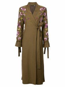 Josie Natori embroidered tie front duster coat - Green
