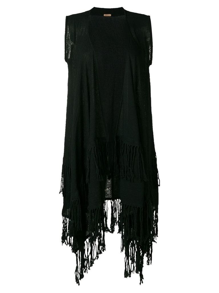 Caravana sleeveless fringed coat - Black