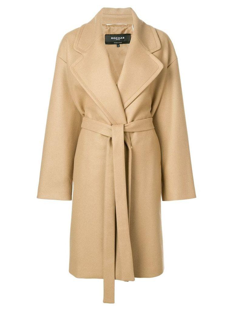 Rochas tie-waist midi coat - Brown