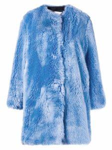 MSGM faux fur collarless coat - Blue