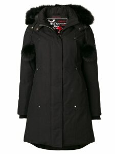 Moose Knuckles zipped fur-trim coat - Black