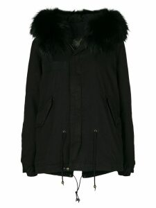 Mr & Mrs Italy fur hood short parka coat - Black