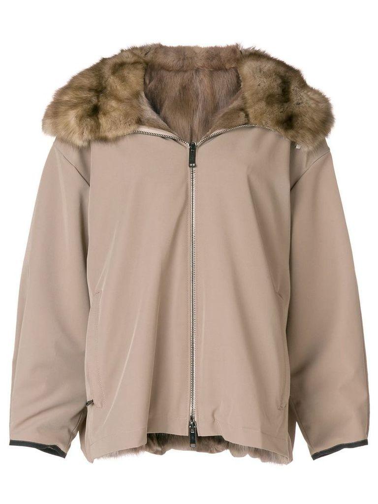 Liska fur hooded coat - Neutrals
