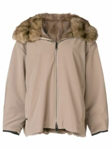 Liska fur hooded coat - Neutrals