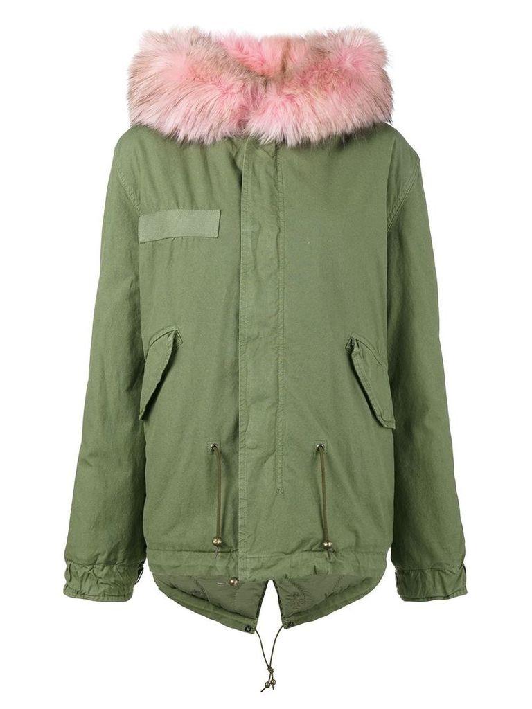 Mr & Mrs Italy Short Green Pink Fur trim parka