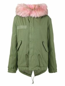 Mr & Mrs Italy Short Green Pink Fur trim parka