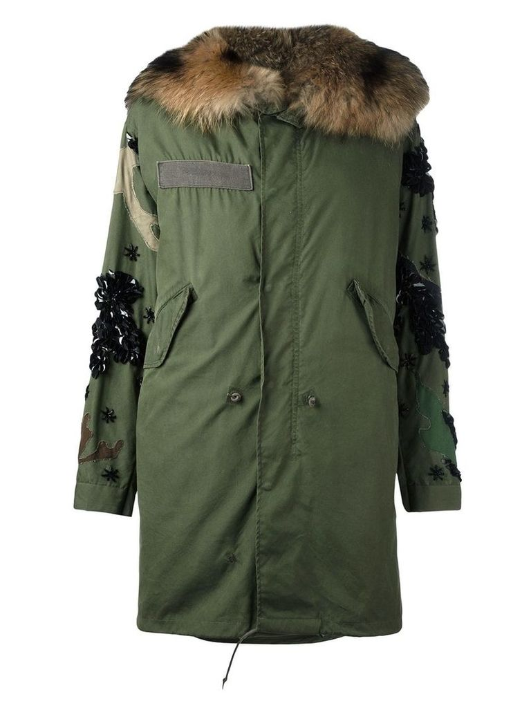 Night Market fox fur lined parka - Green