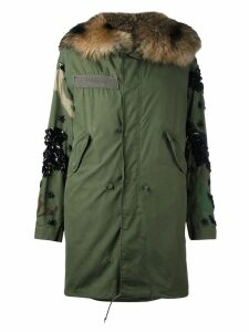 Night Market fox fur lined parka - Green