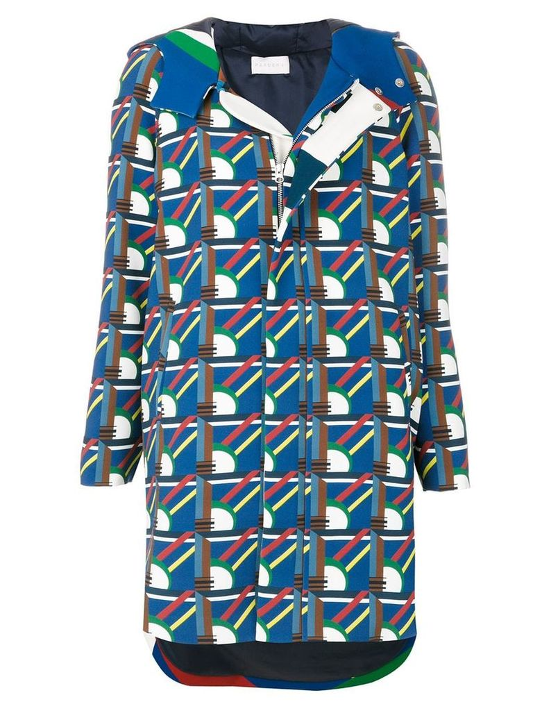 Pardens geometric print hooded parka - Blue