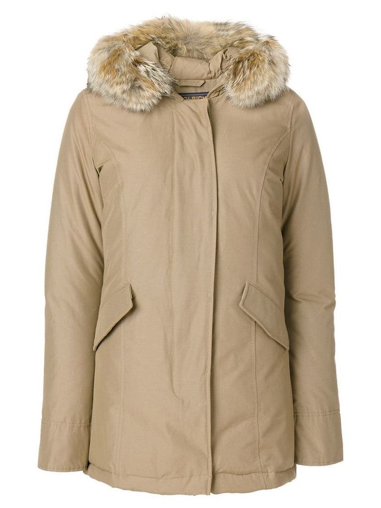 Woolrich feather hooded coat - Neutrals