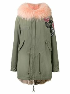 Mr & Mrs Italy roses print mid parka - Green