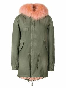 Mr & Mrs Italy trimmed hood short parka - Green