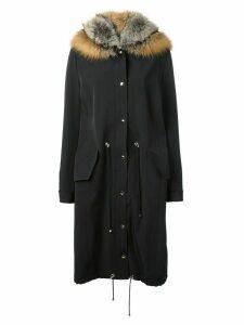 Liska fox fur hood parka - Black