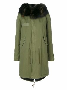Mr & Mrs Italy racoon fur trim hooded coat - Green