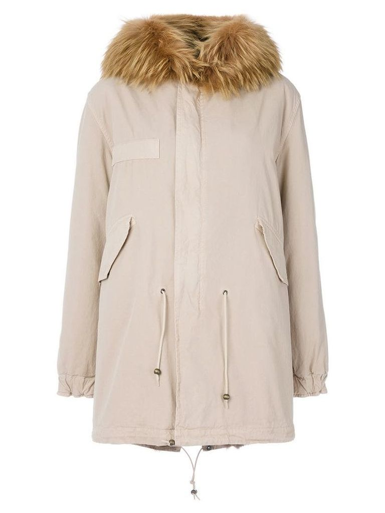 Mr & Mrs Italy trimmed hood mid parka - Neutrals