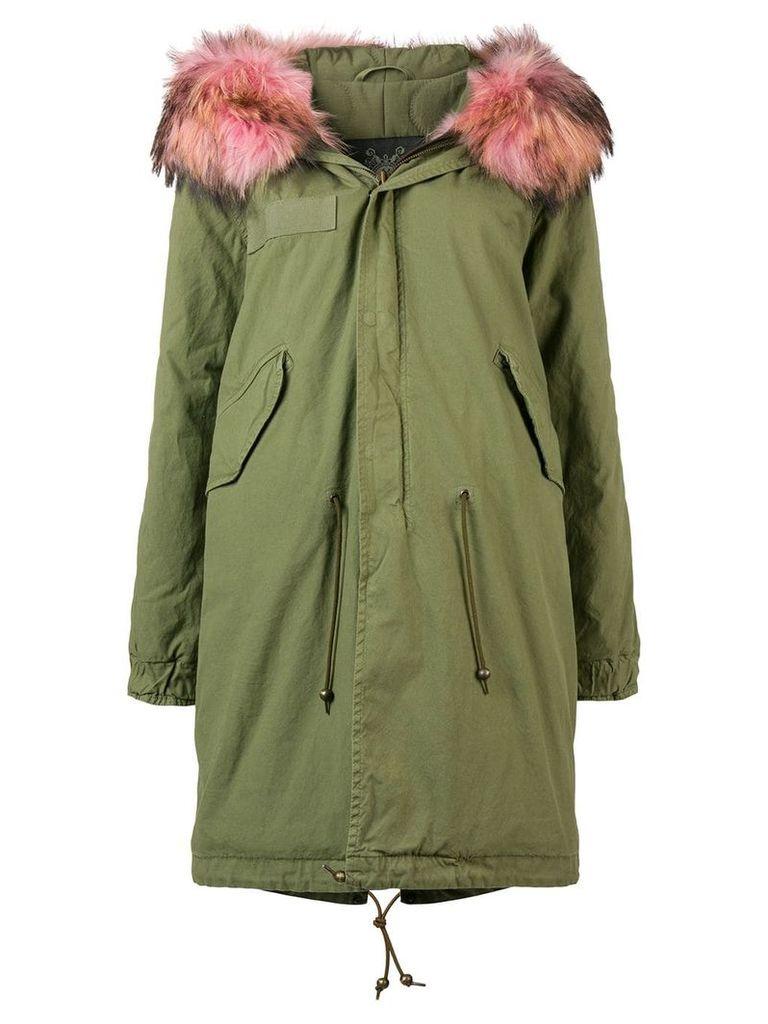 Mr & Mrs Italy contrast fur trim parka - Green
