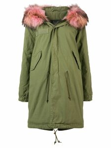 Mr & Mrs Italy contrast fur trim parka - Green