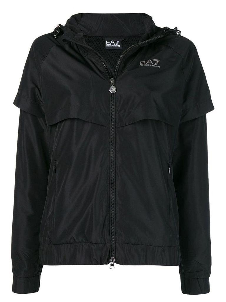 Ea7 Emporio Armani side logo zipped parka - Black