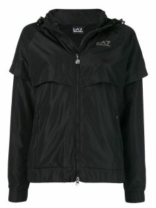 Ea7 Emporio Armani side logo zipped parka - Black