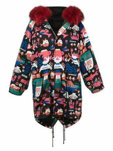 Liska fur hood printed coat - Black