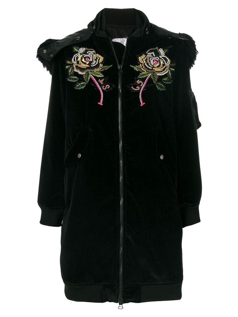 As65 embroidered velvet parka - Black