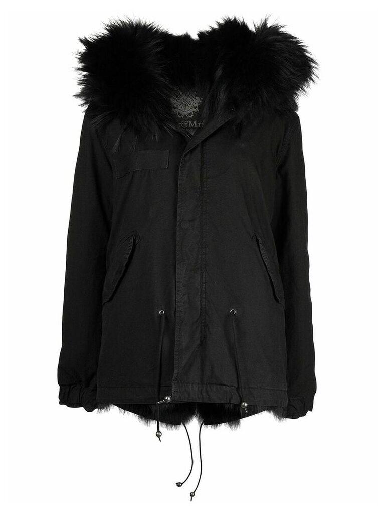 Mr & Mrs Italy hooded fur trimmed parka - Black