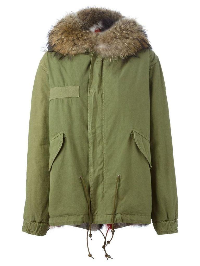 Mr & Mrs Italy Short Multi Coloured Fur Lined Parka - Green