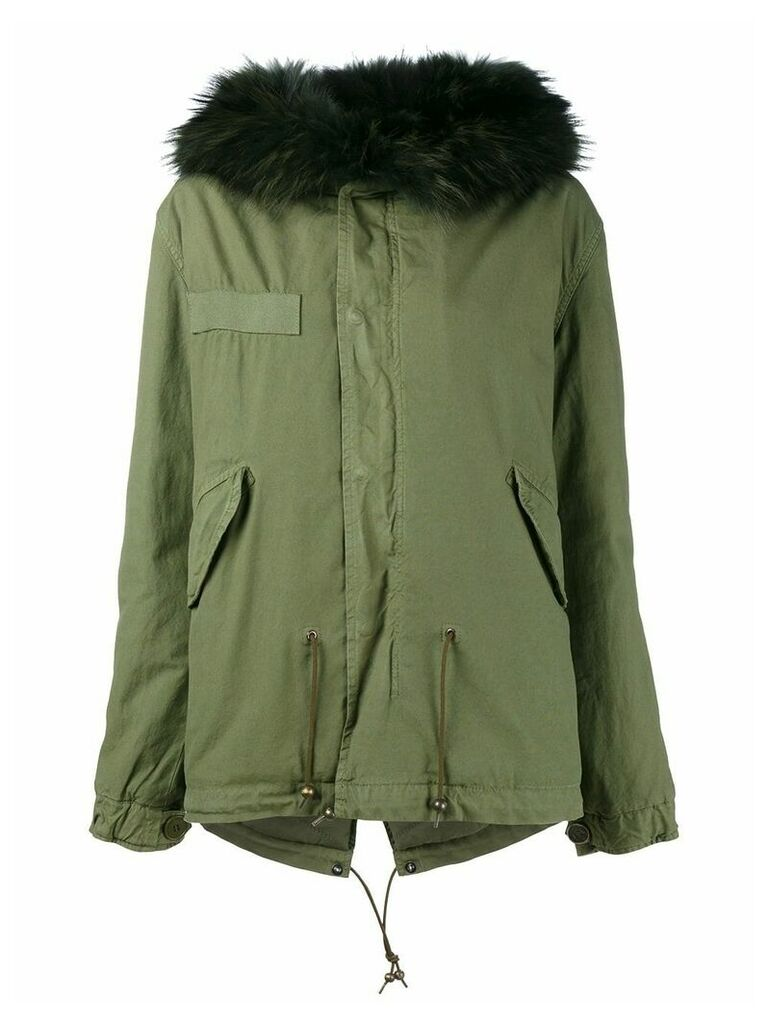 Mr & Mrs Italy racoon fur trim parka - Green