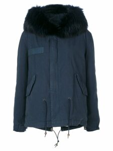 Mr & Mrs Italy trimmed hood short parka - Blue