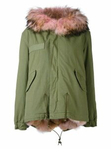Mr & Mrs Italy short pink fur lined parka - Green