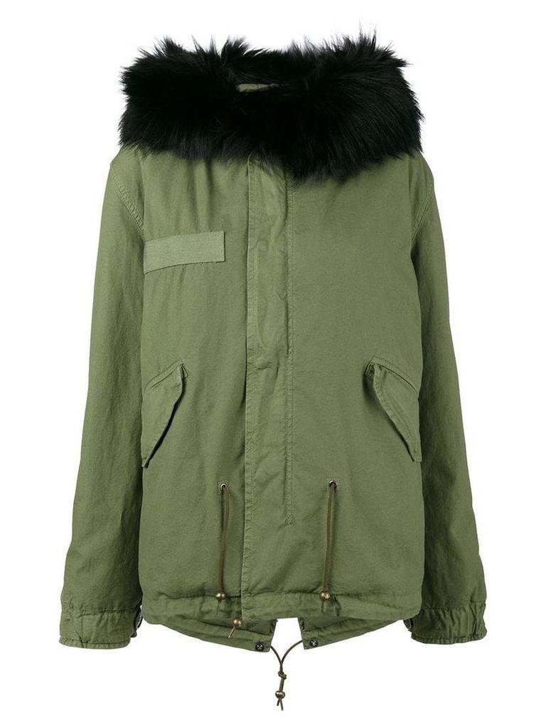 Mr & Mrs Italy Short Black Fur Trim Hood Parka - Green