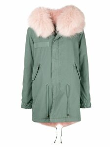 Mr & Mrs Italy trimmed hood parka - Blue