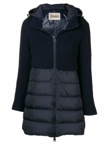 Herno knit panel padded coat - Blue