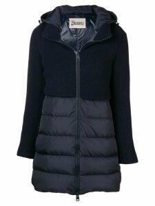 Herno knit panel padded coat - Blue