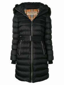 Burberry zip front fur trimmed coat - Black