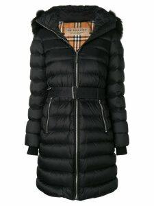 Burberry zip front fur trimmed coat - Black