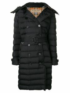 Burberry puffed mid-length hooded coat - Black