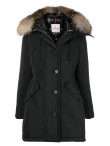 Moncler fox fur-trimmed coat - Black