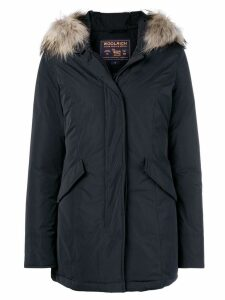 Woolrich fur-trim zipped parka coat - Blue