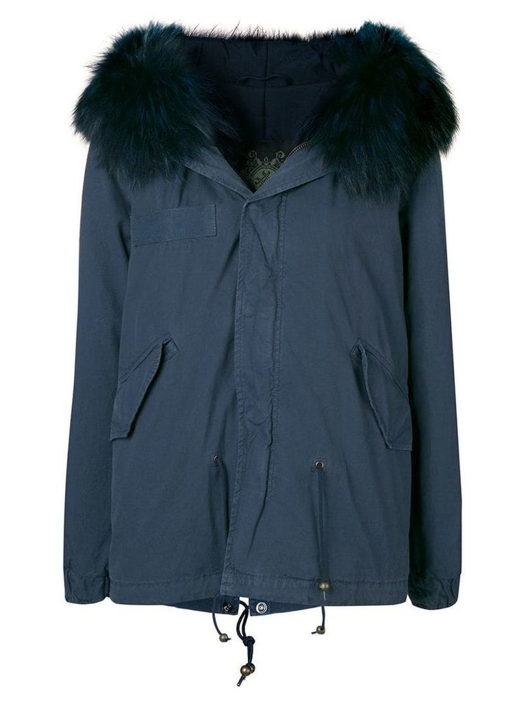 Mr & Mrs Italy trimmed hooded parka - Blue